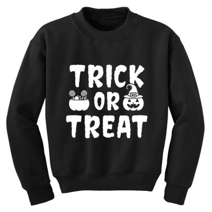Trick Or Treat - Halloween Gift Scary Youth Sweatshirt Designed By Diogo Calheiros
