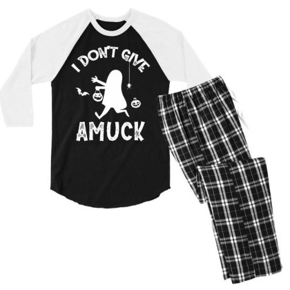I Don't Give Amuck - Halloween Gift Scary Men's 3/4 Sleeve Pajama Set Designed By Diogo Calheiros