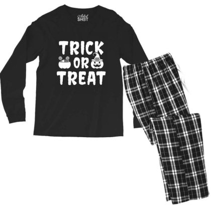 Trick Or Treat - Halloween Gift Scary Men's Long Sleeve Pajama Set Designed By Diogo Calheiros