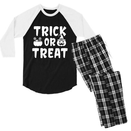 Trick Or Treat - Halloween Gift Scary Men's 3/4 Sleeve Pajama Set Designed By Diogo Calheiros