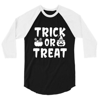 Trick Or Treat - Halloween Gift Scary 3/4 Sleeve Shirt Designed By Diogo Calheiros