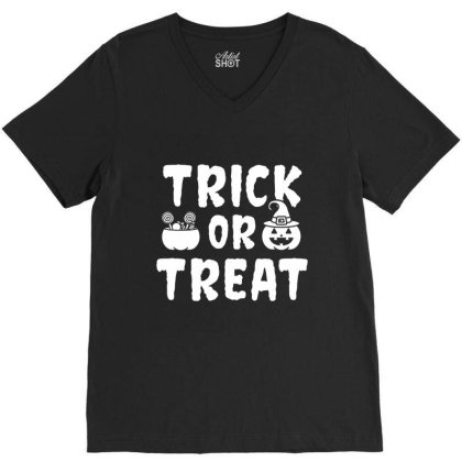Trick Or Treat - Halloween Gift Scary V-neck Tee Designed By Diogo Calheiros