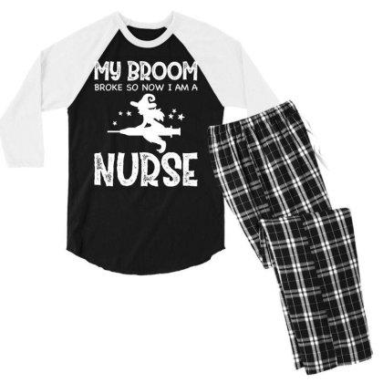 Halloween Nurse Funny - Halloween Gift Scary Men's 3/4 Sleeve Pajama Set Designed By Diogo Calheiros