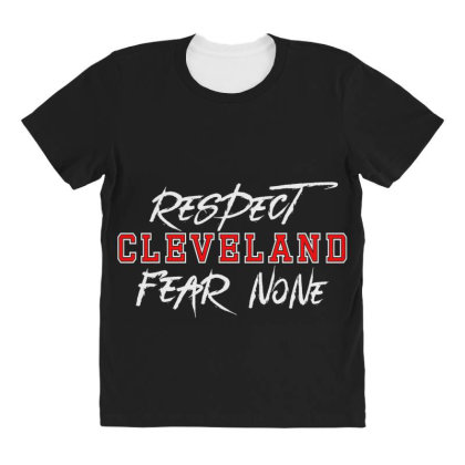 Respect Cleveland All Over Women's T-shirt Designed By Shirt1na