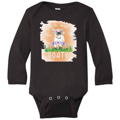 Just A Girl Who Loves Goat Long Sleeve Baby Bodysuit Designed By Alparslan Acar