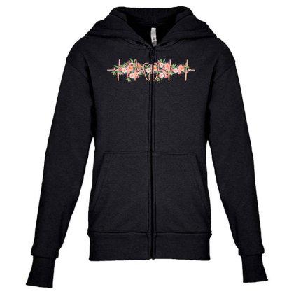 Dent Heartbeat Youth Zipper Hoodie Designed By Sengul
