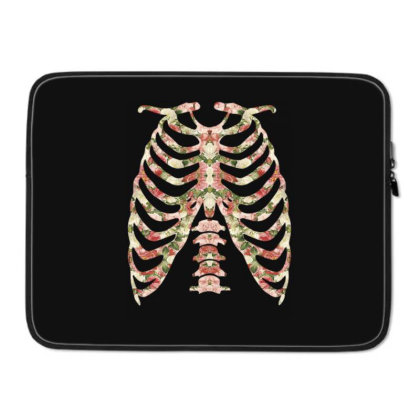 Halloween Skeleton Floral Laptop Sleeve Designed By Sengul