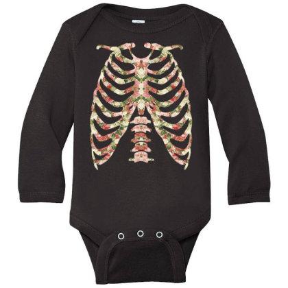 Halloween Skeleton Floral Long Sleeve Baby Bodysuit Designed By Sengul