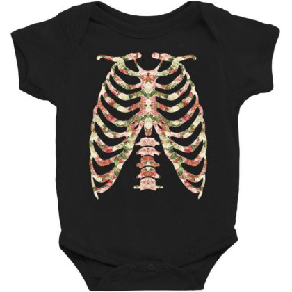 Halloween Skeleton Floral Baby Bodysuit Designed By Sengul