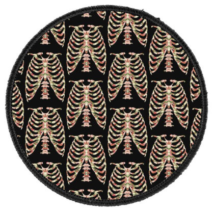 Halloween Skeleton Floral Round Patch Designed By Sengul
