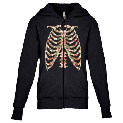Halloween Skeleton Floral Youth Zipper Hoodie Designed By Sengul