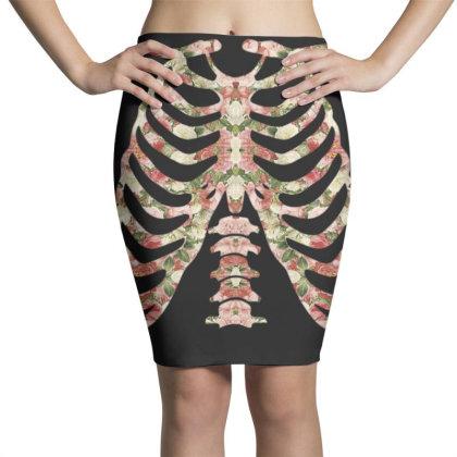 Halloween Skeleton Floral Pencil Skirts Designed By Sengul
