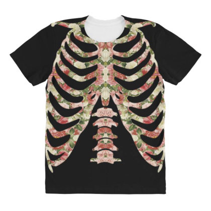 Halloween Skeleton Floral All Over Women's T-shirt Designed By Sengul