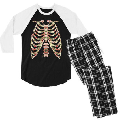 Halloween Skeleton Floral Men's 3/4 Sleeve Pajama Set Designed By Sengul