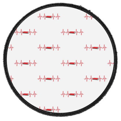 Harmonica Heartbeat Round Patch Designed By Sengul