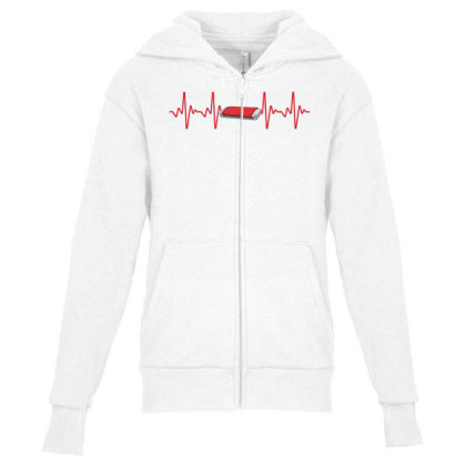 Harmonica Heartbeat Youth Zipper Hoodie Designed By Sengul