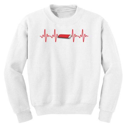 Harmonica Heartbeat Youth Sweatshirt Designed By Sengul