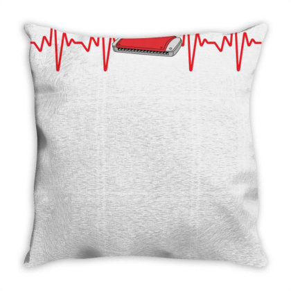 Harmonica Heartbeat Throw Pillow Designed By Sengul