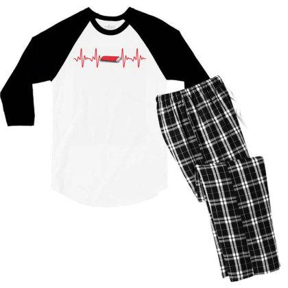 Harmonica Heartbeat Men's 3/4 Sleeve Pajama Set Designed By Sengul