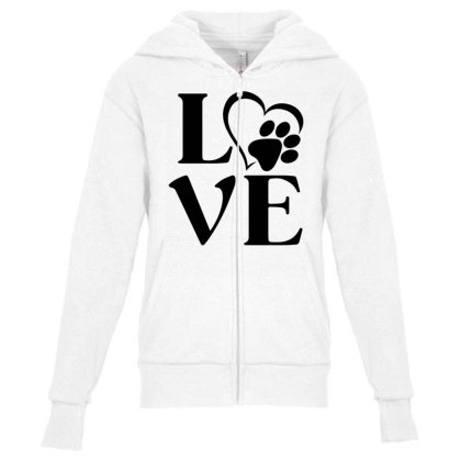 Love Paw For Light Youth Zipper Hoodie Designed By Sengul