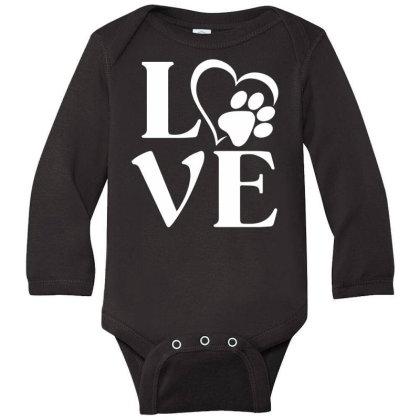 Love Paw For Dark Long Sleeve Baby Bodysuit Designed By Sengul
