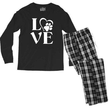 Love Paw For Dark Men's Long Sleeve Pajama Set Designed By Sengul