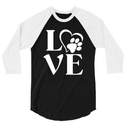 Love Paw For Dark 3/4 Sleeve Shirt Designed By Sengul