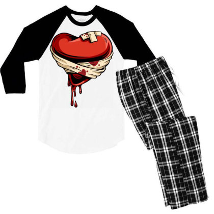 Halloween Heart Men's 3/4 Sleeve Pajama Set Designed By Chiks