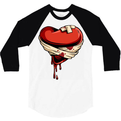 Halloween Heart 3/4 Sleeve Shirt Designed By Chiks