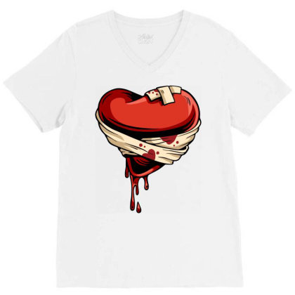 Halloween Heart V-neck Tee Designed By Chiks