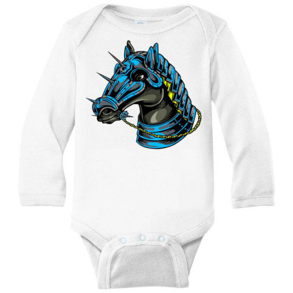 Horse Head Long Sleeve Baby Bodysuit Designed By Chiks