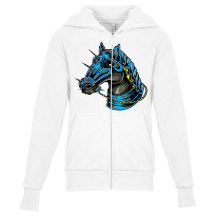 Horse Head Youth Zipper Hoodie Designed By Chiks
