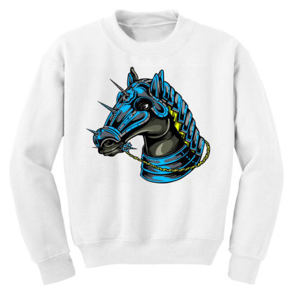 Horse Head Youth Sweatshirt Designed By Chiks