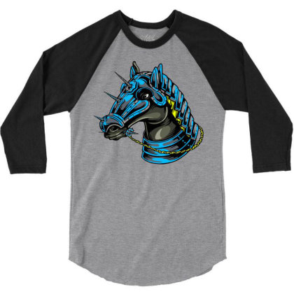 Horse Head 3/4 Sleeve Shirt Designed By Chiks