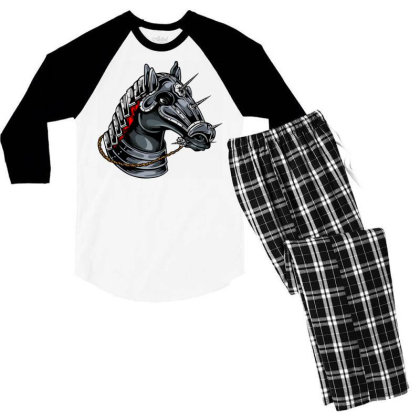 Horse Head Men's 3/4 Sleeve Pajama Set Designed By Chiks