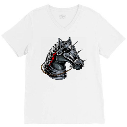 Horse Head V-neck Tee Designed By Chiks