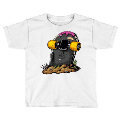 Skateboard Headstone Toddler T-shirt Designed By Chiks