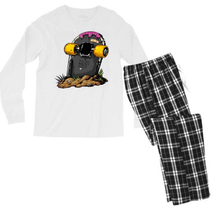 Skateboard Headstone Men's Long Sleeve Pajama Set Designed By Chiks