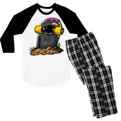 Skateboard Headstone Men's 3/4 Sleeve Pajama Set Designed By Chiks