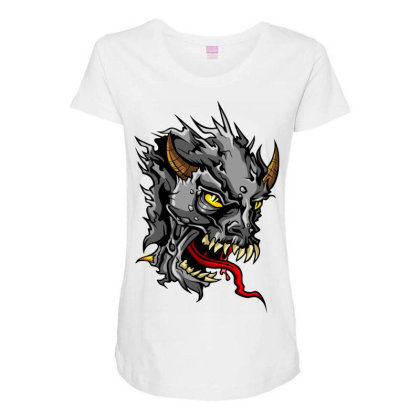 Devil Head Maternity Scoop Neck T-shirt Designed By Chiks