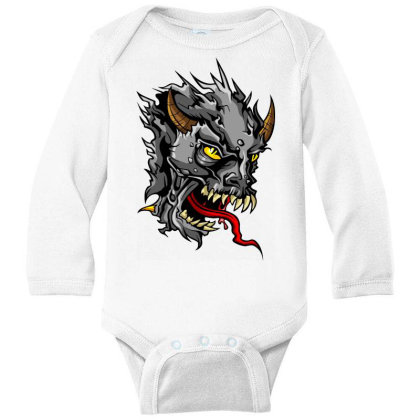 Devil Head Long Sleeve Baby Bodysuit Designed By Chiks