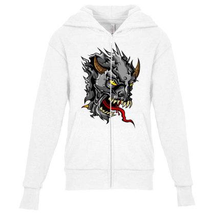 Devil Head Youth Zipper Hoodie Designed By Chiks