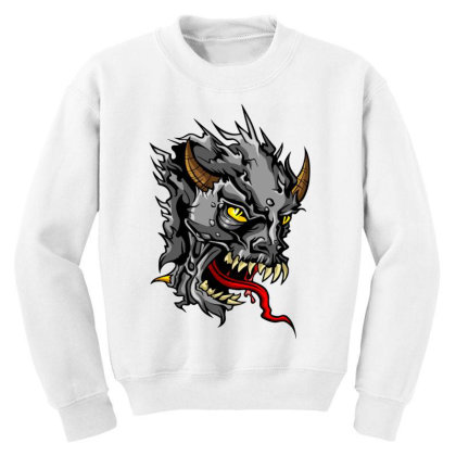 Devil Head Youth Sweatshirt Designed By Chiks