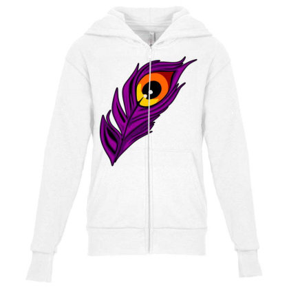 Peacock Youth Zipper Hoodie Designed By Chiks