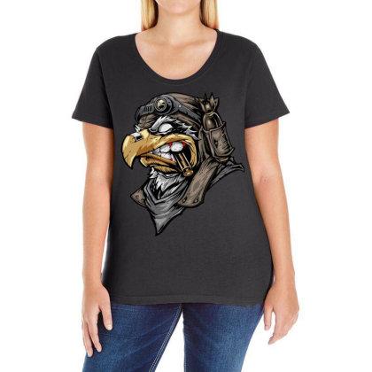 Eagle Head Ladies Curvy T-shirt Designed By Chiks