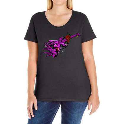 Guitar Graphic Art Ladies Curvy T-shirt Designed By Chiks