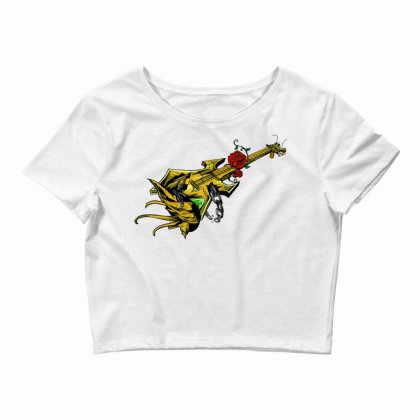 Guitar Graphic Art Crop Top Designed By Chiks