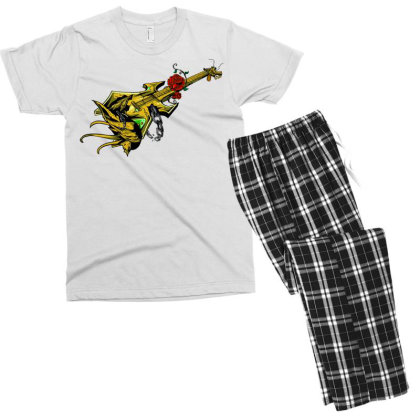 Guitar Graphic Art Men's T-shirt Pajama Set Designed By Chiks