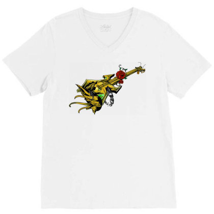Guitar Graphic Art V-neck Tee Designed By Chiks
