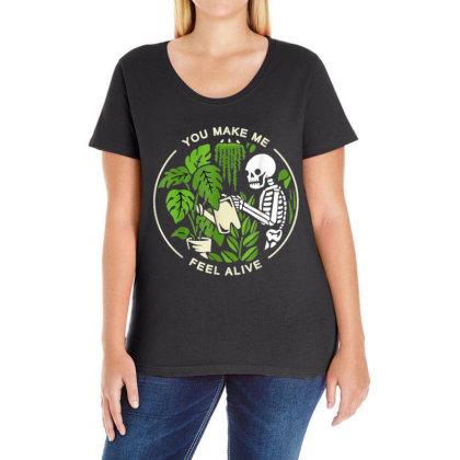You Make Me Feel Alive - Halloween Skull Ladies Curvy T-shirt Designed By Mrt90